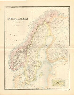 1874 ca LARGE ANTIQUE MAP- SWANSTON - SWEDEN AND NORWAY WITH RUSSIAN FINLAND