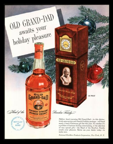 "Original 1949 ""Old Grand-Dad"" Bourbon Whiskey Christmas Magazine Print Ad"