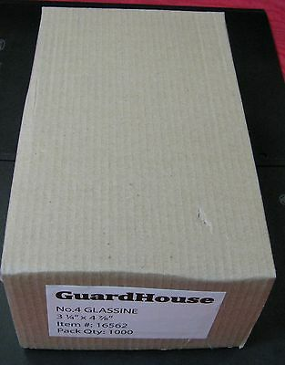 GUARDHOUSE BRAND GLASSINE ENVELOPE SIZE #4. BOX OF 1000 COUNT. 3 1/4