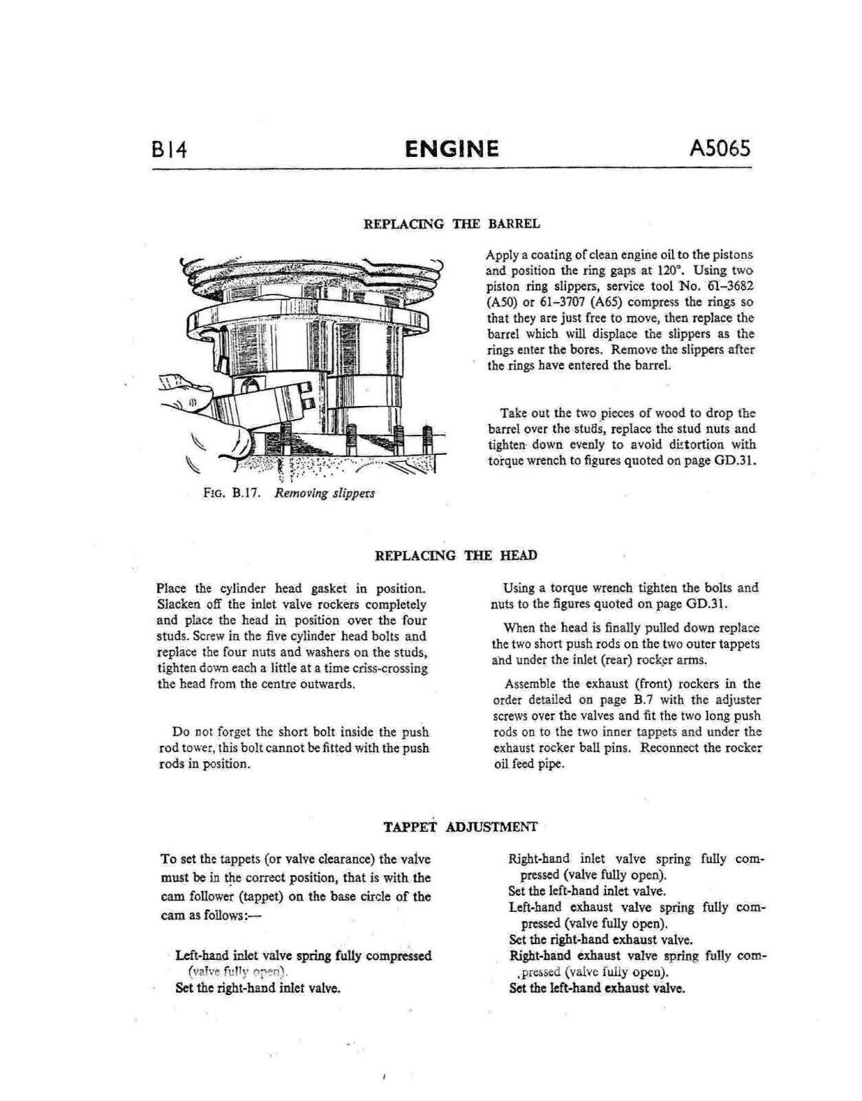 9 of 12 BSA workshop service manual 1966 A65 HORNET