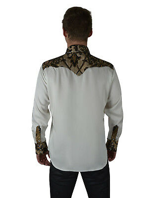 SHRINE GOTHIC ROCKER TAPESTRY COWBOY STEAMPUNK WHITE WEDDING VICTORIAN SHIRT Casual Button-Down Shirts