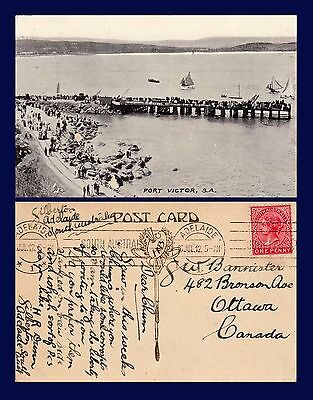 SOUTH AUSTRALIA PORT VICTOR SAIL BOATS AND PIER POSTED 1912 TO OTTAWA ONTARIO