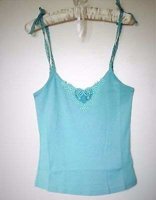 Ted Baker Womens Bow Tie Strappy Vest Top Ribbed Cotton Crop Cami Size 2 UK 8 10