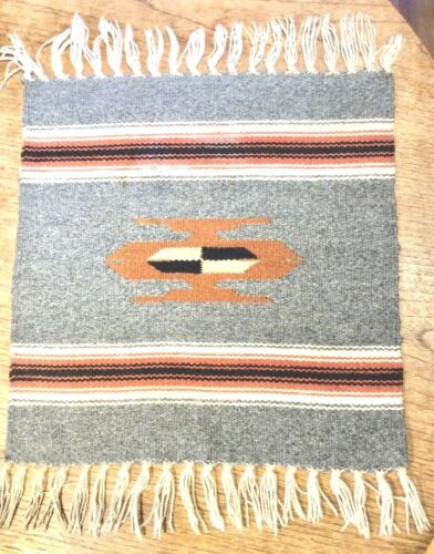 Gray Chimayo Rug Mat Southwest, New Mexico Wool Textile Weaving Handwoven 15x14