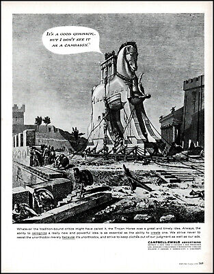 1958 Trojan Horse Soldiers Campbell-Ewald Advertising vintage art print ad L39