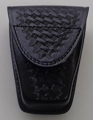 "Basketweave Single Standard Leather Handcuff Cuff Case Closed ""Y"" Black"