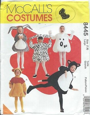 McCall's 8445 HALLOWEEN COSTUME Pattern BEAR GHOST CAT DOG BUNNY Girls Boys 7,8