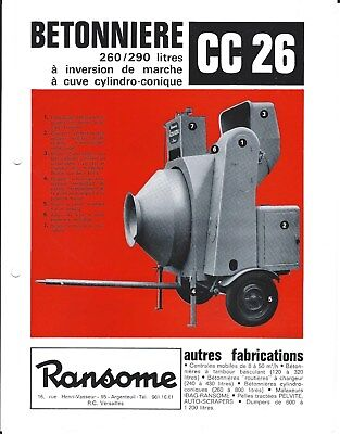 Equipment Brochure - Ransome Cc 26 Betonniere Cement Mixer - French Lang E4466