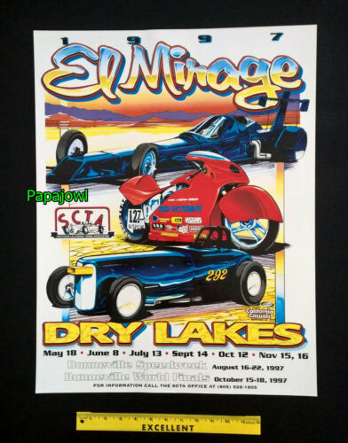 4 Collectible El Mirage Dry Lake Bed Posters SCTA Pickup Motorcycle Bonneville