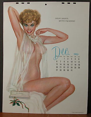 Al Moore Calendar Page December 1953 's Jeweler's Daughter Give Her A Ring