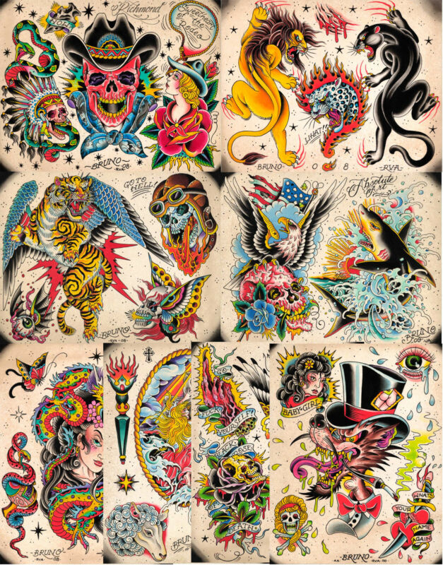 """Bruno RVA 08 Traditional Vintage Style Tattoo Flash 10 Sheets 11x14"""" Old School"""
