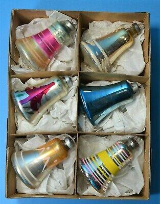 CHRISTMAS MERCURY GLASS BELLS LARGE BRIGHT BAUBLES ORNAMENTS VINTAGE 1960's CB56