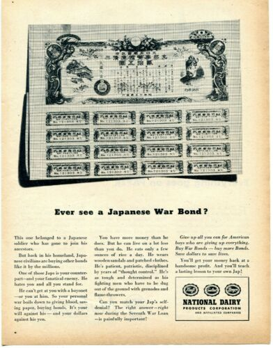 1945 Print Ad of National Dairy Products War Bonds Japanese Soldier War Bonds