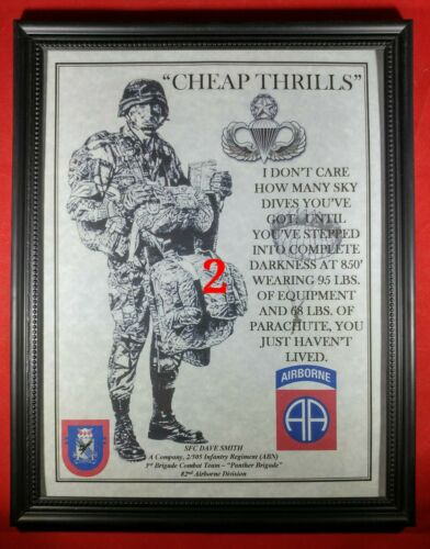 "MC-NICE: Army Airborne ""Cheap Thrills"" Paratrooper ALL UNITS Framed PERSONALIZED"