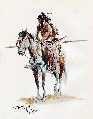 1903 Native American Indian Art Poster Print Charles Russell Western Artwork