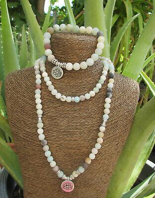 Set - Frosted Amazonit Perlen Mala Armband + - Perle Halskette Set