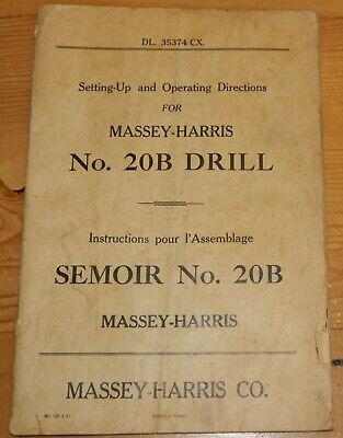 Vintage Operation Manual Massey Harris Drill 20b Dl 35374 Cx Frenchenglish