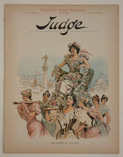 1893 Antique Judge Magazine CHICAGO WORLDS FAIR Cartoon Lithograph Prints Kemble
