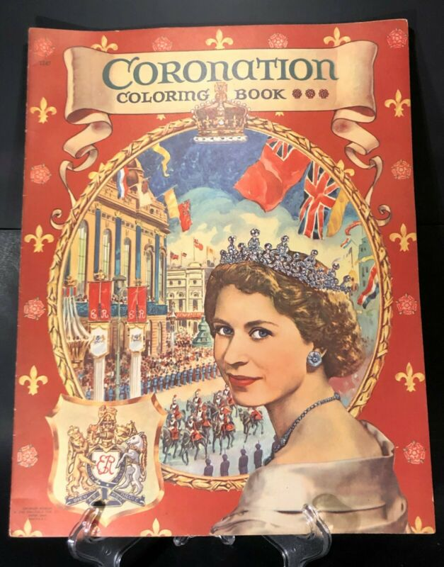 New Old Stock 1953 Oversized Coronation Coloring Book - Queen Elizabeth II