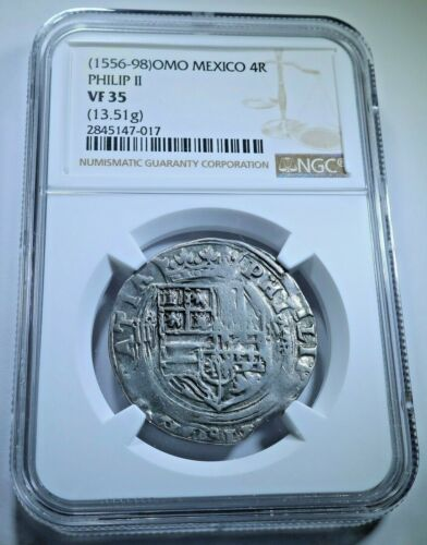NGC VF-35 Philip II 1500s Mexico Silver 4 Reales Antique Spanish Pirate Cob Coin