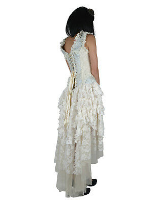 BURLESKA GOTHIC OPHELIE VAMPIRE WEDDING PROM VINTAGE BLUE BROCADE CORSET DRESS](Gothic Wedding)