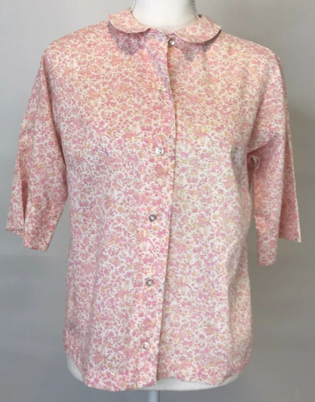 Vintage Manhattan Shirt Country Cousins Womens Button Front Floral Pink Size 12