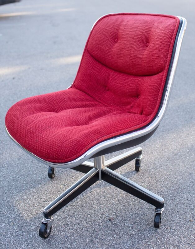 Authentic Knoll Charles Pollock Mid Century Modern Chair 4-Star Base -Red