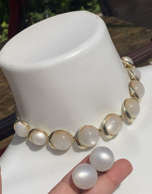 """Vintage Moon Glow Thermoset Lucite 16"""" Choker Necklace & Matching Earrings Set"""