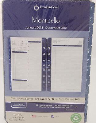 Franklin Covey Monticello 2018 Daily Planner Refill Classic 5.5 X 8.5 36229