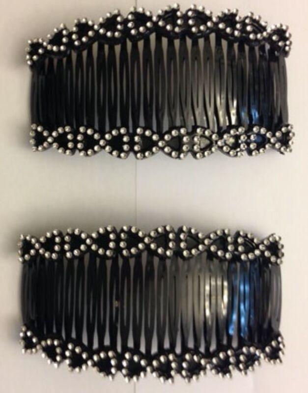 Beautiful Set of 2 Interlocking Black Comb Hair Clip with Rhinestone Bow Design