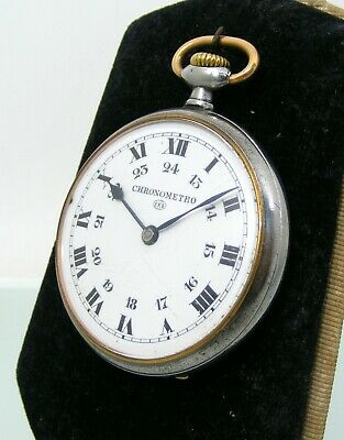 Vintage Cronometro Omega ,gun steel case Pocket Watch, enamel dial