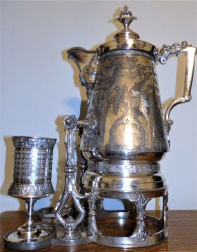 LARGE Antique Victorian Egyptian Revival Silver Plate TILTING WATER PITCHER +Cup