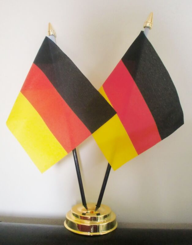 GERMANY X 2 TABLE FLAG SET 2 flags plus GOLDEN BASE GERMAN