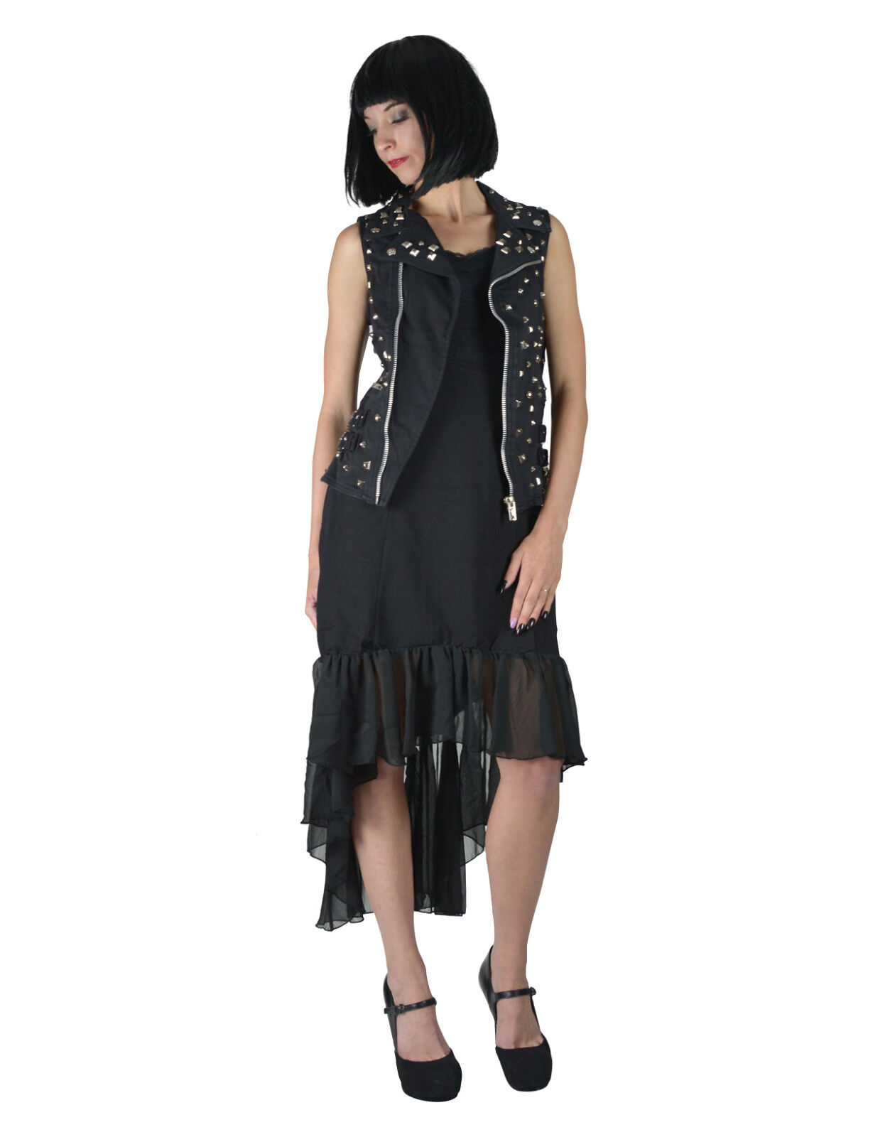 TRIPP GOTHIC BAND MOTO ROCKABILLY PUNK ROCK BIKER BLACK STUDDED VEST IS9465 XS Clothing, Shoes & Accessories