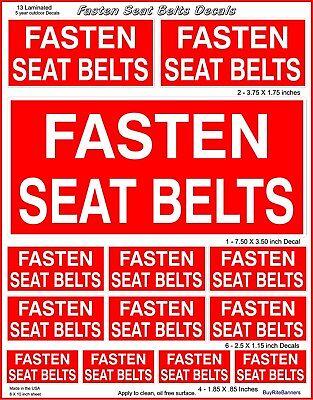 13 Fasten Seat Belt Fleet Commercial Safety Dashboard Decal Stickers. Laminated