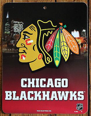 Licensed NHL Plastic Sign Chicago Blackhawks Wall Hockey Decor 11 X 8 1/2