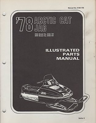 1978 ARCTIC CAT SNOWMOBILE JAG 2000,3000 P/N 0185-102 PARTS MANUAL (052)