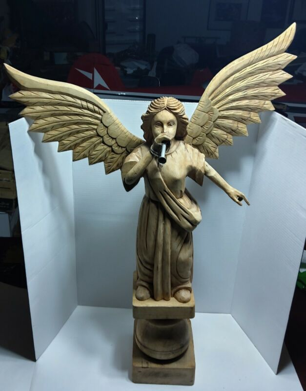 VINTAGE HAND CARVED WOODEN ANGEL SCULPTURE WITH WINGS SPREAD AND TRUMPET