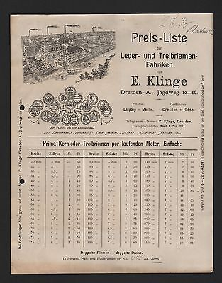 DRESDEN, Rechnung Preisliste 1909, E. Klinge Leder-Treibriemen-Fabriken