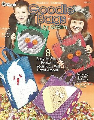 Goodie Bags for Goblins Trick or Treat Halloween Totes Plastic Canvas Patterns](Halloween Tote Bag Craft)