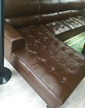 Brown Cow leather sofa set for sale Denham Court Campbelltown Area Preview