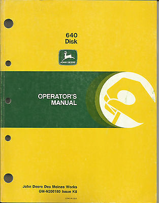 JOHN DEERE 640 DISK OPERATORS MANUAL