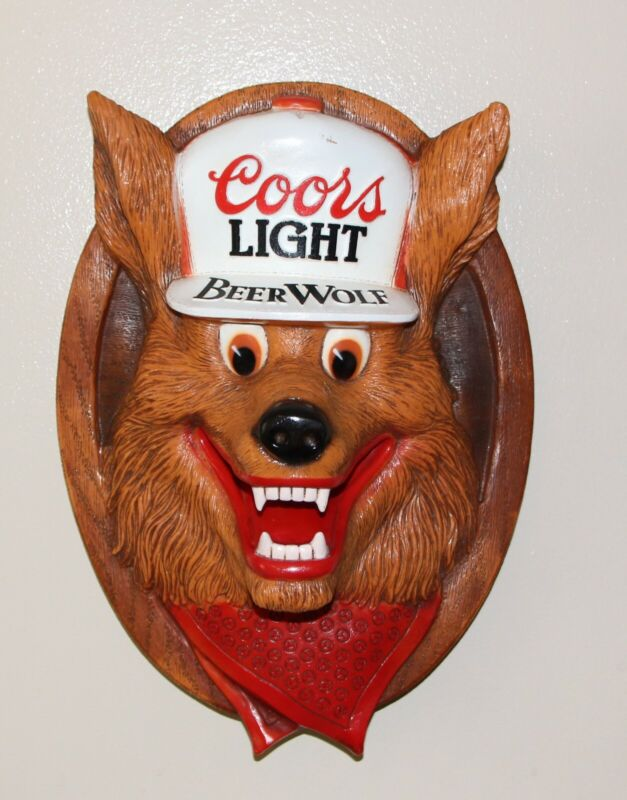 Coors Light Beer Wolf 3D style Plaque approx. 15 x 10 inches molded plastic rare