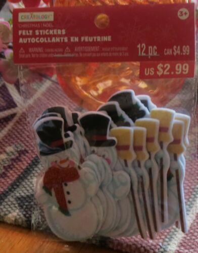 Creatology Felt Craft Stickers Snowman Christmas Holiday 12 Piece