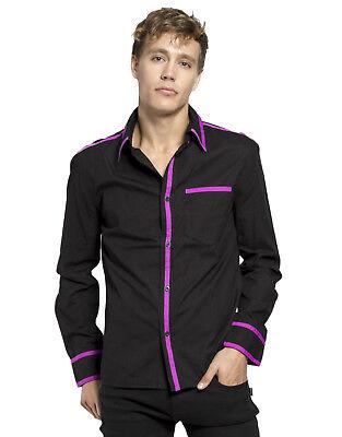 TRIPP GOTHIC ROCKER BICKER RETRO PUNK ROCK BLACK PURPLE SAFETY SHIRT ST7519M Casual Button-Down Shirts