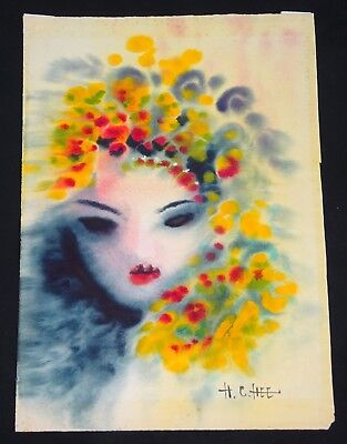 "1960s Chinese WC Painting ""Beautiful Woman w Flower Hat"" by Hon Chew Hee (Hee)"