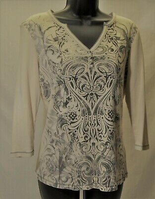 G1407-BLUE CANYON CLOTHING Cream Pullover Top Bling 3/4 Sleeves ~ Size L Blue Cream Clothing