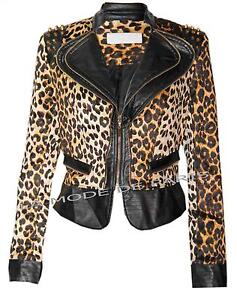 N88 NEW WOMENS LADIES ANIMAL PRINT FAUX  LEATHER BIKER P.V.C.JACKET STUDDED COAT
