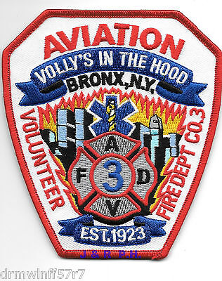"""Aviation, New York  """"Volly's In The Hood - Bronx""""  (4"""" x 4.5"""" size)  fire patch"""