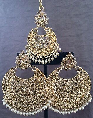 Jhumka Indian Earrings Jhumki Tikka Kundan Bollywood Jewelry Polki Gold Set USA